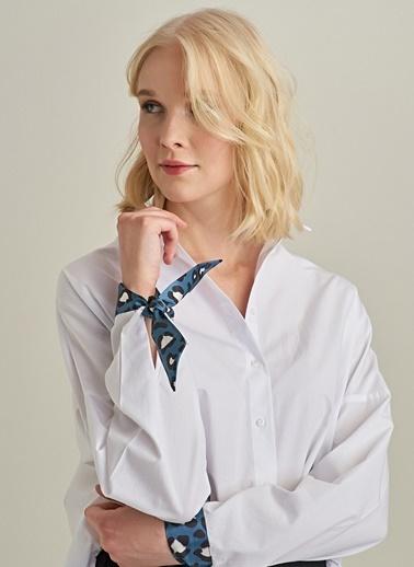 Ng Style Kolu Leoparlı Fular Detaylı Gömlek Beyaz